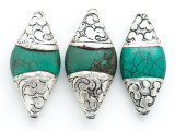 Turquoise & Silver Tibetan Bead 40-55mm (TB106)