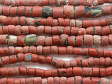 Old Brick Red Green Heart Trade Beads 4-12mm (AT3769)
