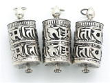Silver Tibetan Prayer Wheel Pendant (TB135)