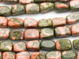 Unakite Block Gemstone Beads 10-14mm (GS671)