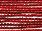 Red Bamboo Coral Irregular Rondelle Beads 4-5mm