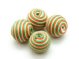 Cotton Wrapped Bead - Orange, Green & White 20mm (CT155)
