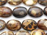 Tiger Fire Agate Oval Tabular Gemstone Beads 16mm (GS2737)