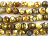 Tiger Fire Agate Faceted Round Gemstone Beads 10mm (GS2741)