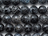 Black Fire Crackle Agate Faceted Round Gemstone Beads 9-10mm (GS2786)