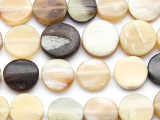 Round Tabular Water Buffalo Horn Beads - 15mm (HN25)