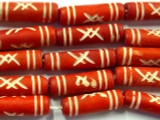 Red Carved Bone Beads 23mm (B1109)