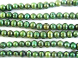 Variegated Green Metallic Potato Pearl Beads 7mm (PRL107)