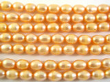 Peach Metallic Irregular Oval Pearl Beads 7mm (PRL115)