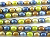 Tri-Color Metallic Irregular Oval Pearl Beads 8mm (PRL116)