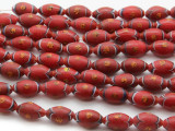 Red Ellipsoid w/Design Glass Beads 12mm (JV811)