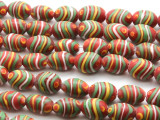 Red w/Green & Yellow Stripes Glass Beads 14mm (JV822)