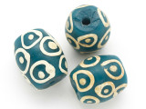 Teal w/White Circles Glass Bead 23mm (CB348)