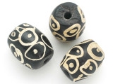 Black w/White Circles Glass Bead 20mm (CB350)