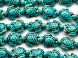 Turquoise Howlite Turtle Gemstone Beads 18mm (GS2649)