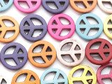 Multi-Color Howlite Peace Sign Gemstone Beads 20mm (GS2658)