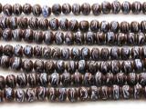 Brown w/Light Blue Stripe Glass Beads 10mm (JV906)