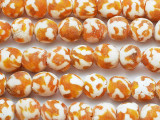 Orange & White Marbled Recycled Glass Beads 12mm - Africa (RG540)