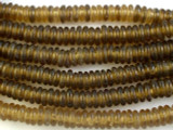 Pale Brown Donut Recycled Glass Beads 10mm - Africa (RG542)