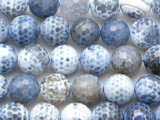 Light Blue Faceted Round Fire Agate Gemstone Beads 14mm (GS2701)