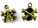 Brass Skull & Crossbones - Pewter Pendant 14mm (PW1118)