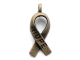 Brass Hope Ribbon - Pewter Pendant 18mm (PW1121)
