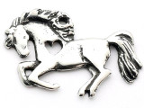Leaping Horse w/Heart - Pewter Pendant (PW656)
