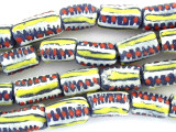 Blue, Yellow, Red & White Painted Sandcast Glass Beads 15mm (SC857)