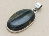 Sterling Silver & Blue Tiger Eye Pendant 39mm (AP1336)
