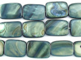 Blue/Gray Rectangular Shell Beads 19mm (SH475)