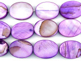 Purple Oval Tabular Shell Beads 20mm (SH500)