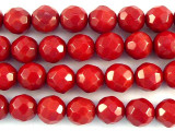 Red Bamboo Coral Faceted Round Beads 8mm (CO530)