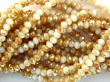 White & Tan Crystal Glass Beads 4mm (CRY42)