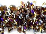 Smoky Jeweltone Teardrop Crystal Glass Beads 12mm (CRY117)