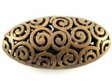 Copper Pewter Bead - Spiral Cutout Oval 42mm (PB380)