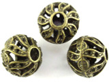 Brass Pewter Bead - Cutout Round 17mm (PB382)