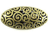 Brass Pewter Bead - Spiral Cutout Oval 42mm (PB383)