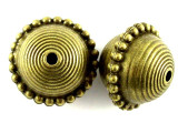 Brass Pewter Bead - Patterned Saucer 22mm (PB389)