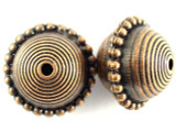 Copper Pewter Bead - Patterned Saucer 22mm (PB393)