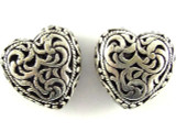 Pewter Bead - Ornate Heart 19mm (PB397)