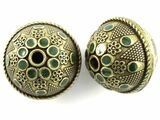 Large Brass & Green Enamel Bead 30mm (MB29)