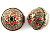 Large Copper & Red Enamel Bead 30mm (MB36)