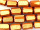 Orange Block Bamboo Wood Beads 9mm (WD870)