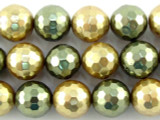Gold & Green Faceted Glass Pearl Beads 9mm (PG54)