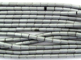 Silver Electroplated Hematite Tube Gemstone Beads 2mm (GS3063)