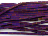 Purple Rectangular Tube Hematite Gemstone Beads 4mm (GS3066)
