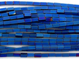 Blue Electroplated Hematite Square Tube Gemstone Beads 2mm (GS3067)