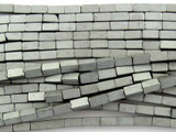 Silver Electroplated Hematite Square Tube Gemstone Beads 4mm (GS3069)