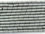 Silver Electroplated Hematite Tube Gemstone Beads 3mm (GS3078)