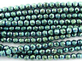 Teal Hematite Faceted Round Gemstone Beads 4mm (GS3080)
